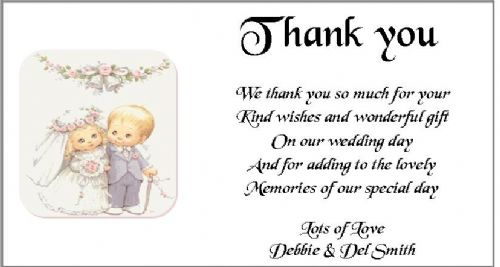 Thank You Gift Cards Wedding Personalised -  Cute Bride and Groom design x 10